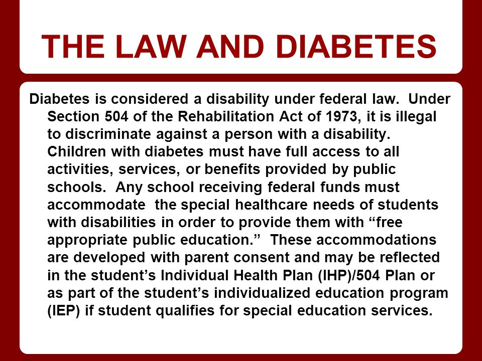 THE LAW AND DIABETES