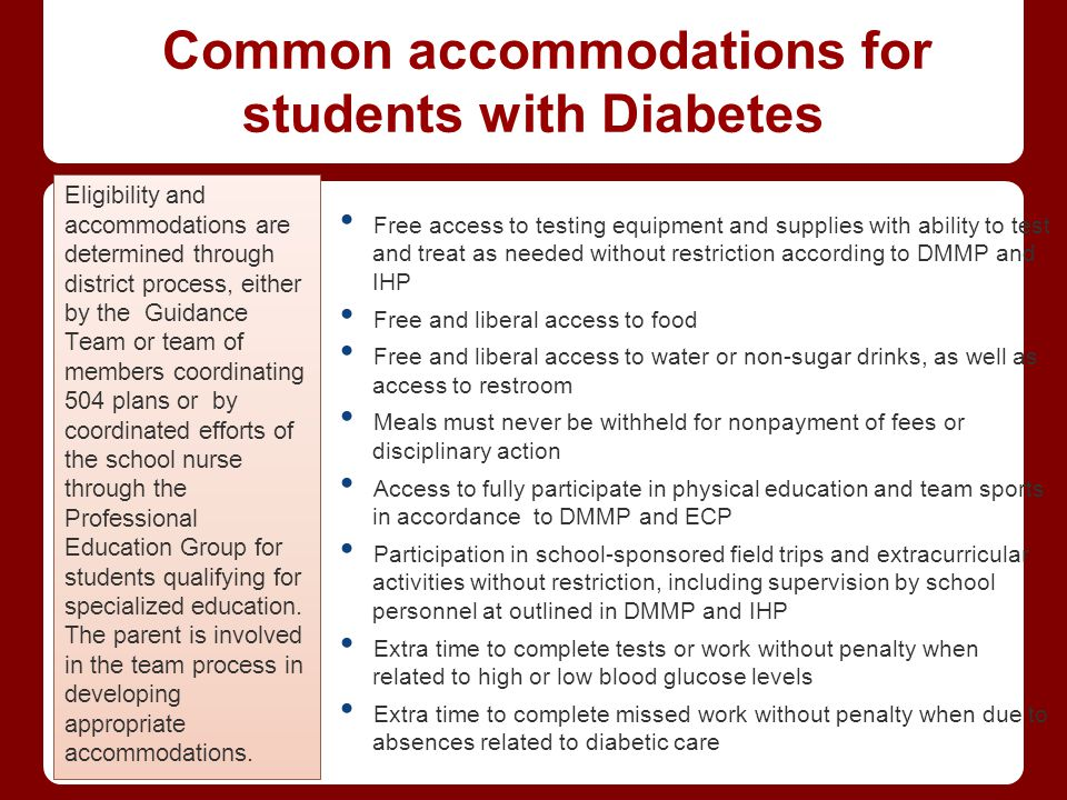 Common accommodations for students with Diabetes