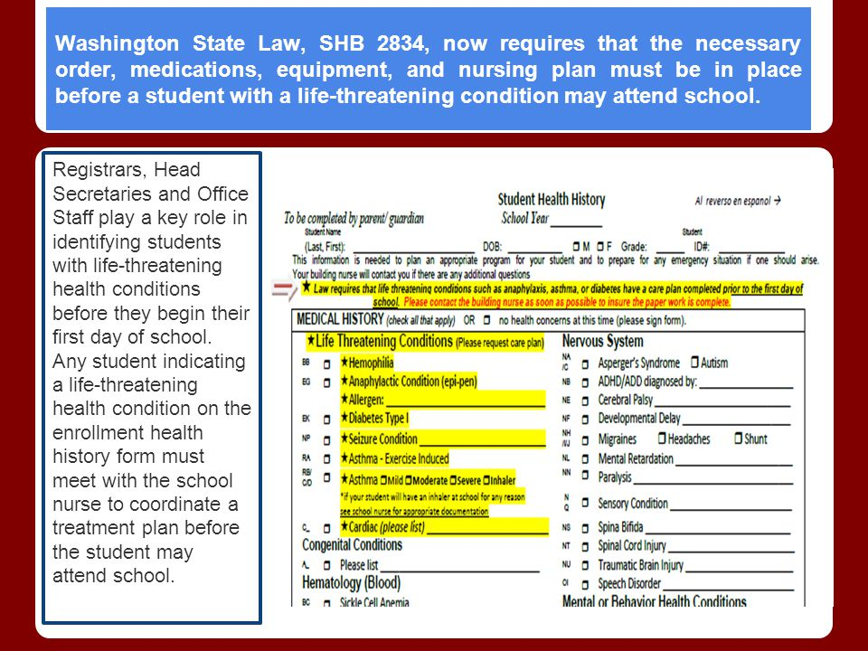 Washington State Law, SHB 2834, now requires that the necessary order, medications, equipment, and nursing plan must be in place before a student with a life-threatening condition may attend school.