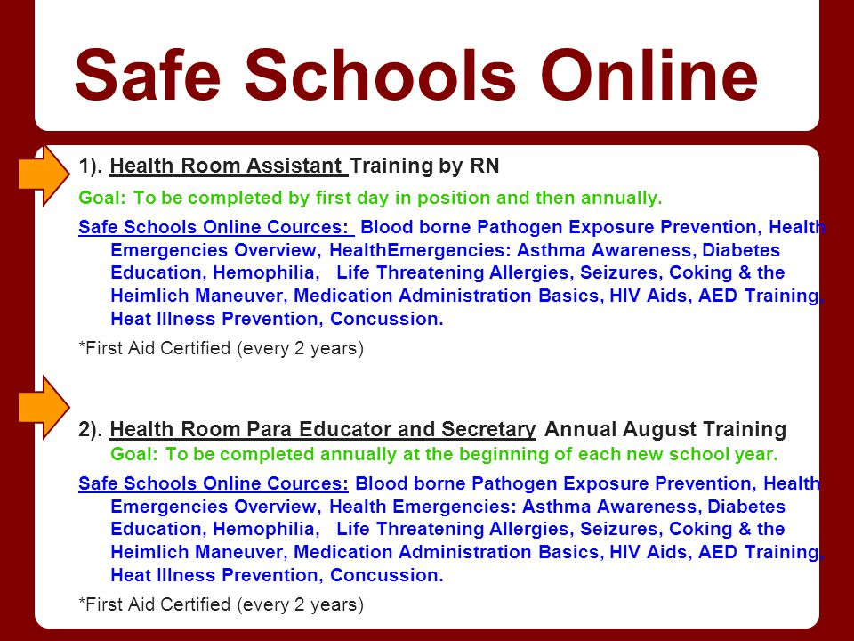 Safe Schools Online 1). Health Room Assistant Training by RN