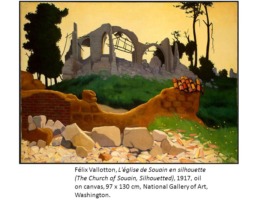 Félix Vallotton, L église de Souain en silhouette (The Church of Souain, Silhouetted), 1917, oil on canvas, 97 x 130 cm, National Gallery of Art, Washington.