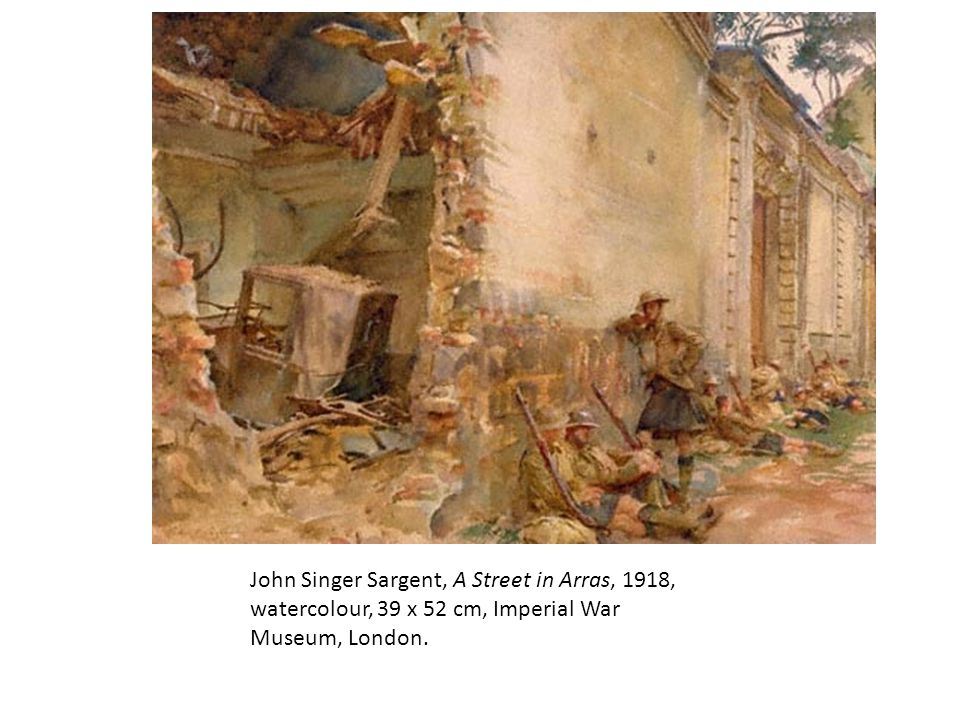 John Singer Sargent, A Street in Arras, 1918, watercolour, 39 x 52 cm, Imperial War Museum, London.