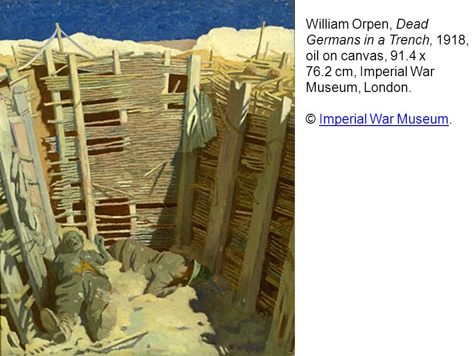 William Orpen, Dead Germans in a Trench, 1918, oil on canvas, 91
