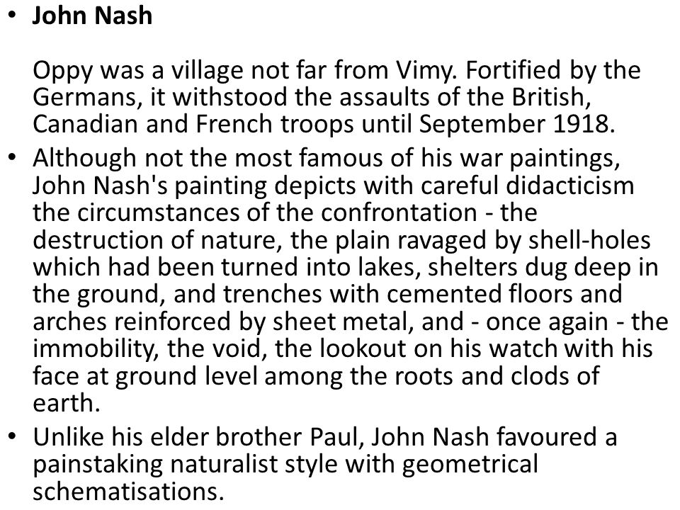 John Nash Oppy was a village not far from Vimy