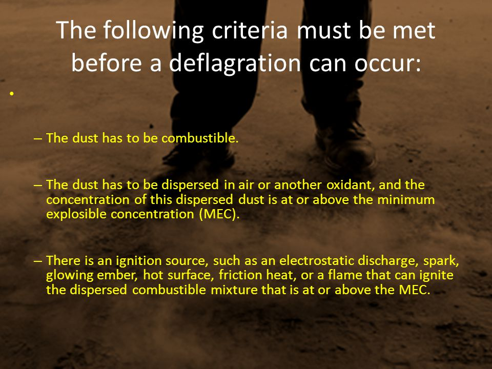 The following criteria must be met before a deflagration can occur:
