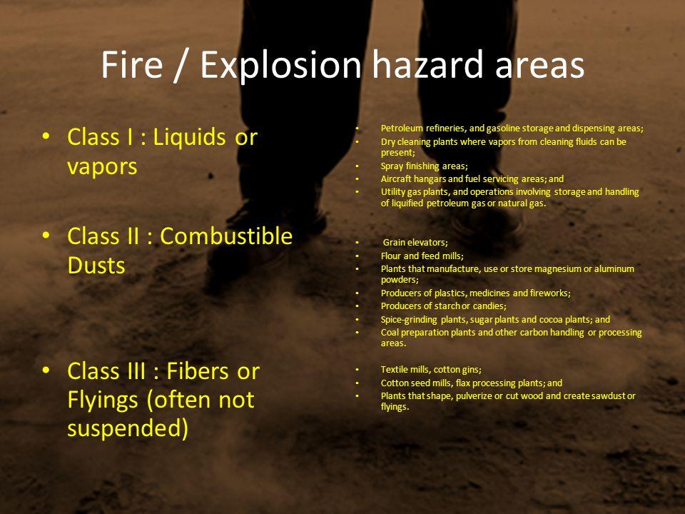 Fire / Explosion hazard areas