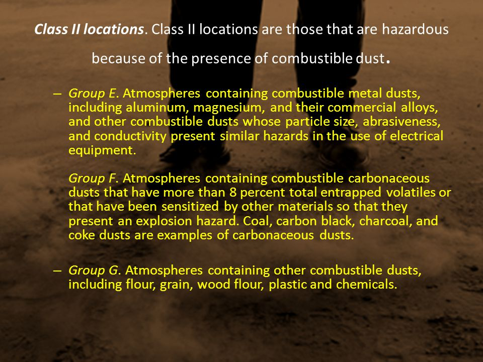 Class II locations. Class II locations are those that are hazardous because of the presence of combustible dust.