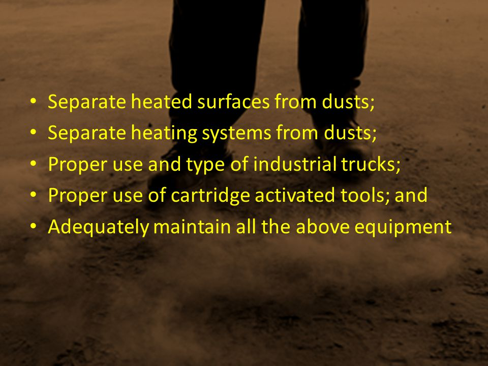 Separate heated surfaces from dusts;