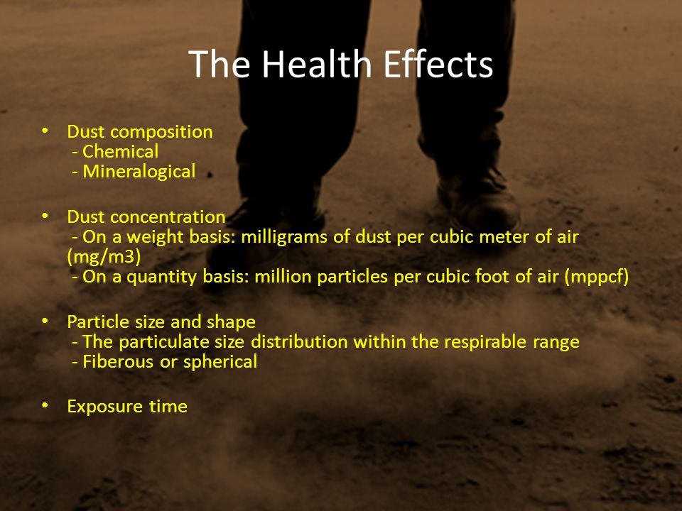 The Health Effects Dust composition - Chemical - Mineralogical