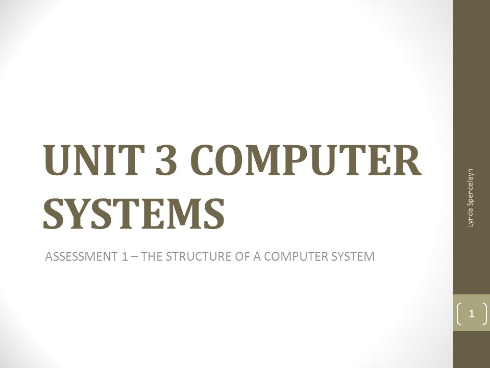 ASSESSMENT 1 – THE STRUCTURE OF A COMPUTER SYSTEM