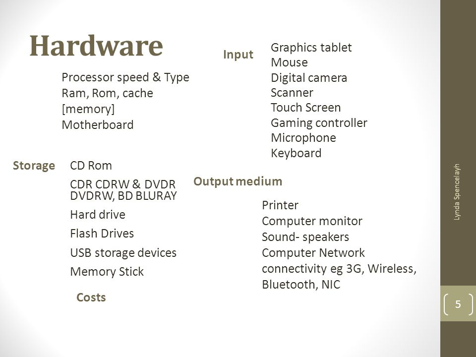 Hardware Processor speed & Type Ram, Rom, cache [memory] Motherboard