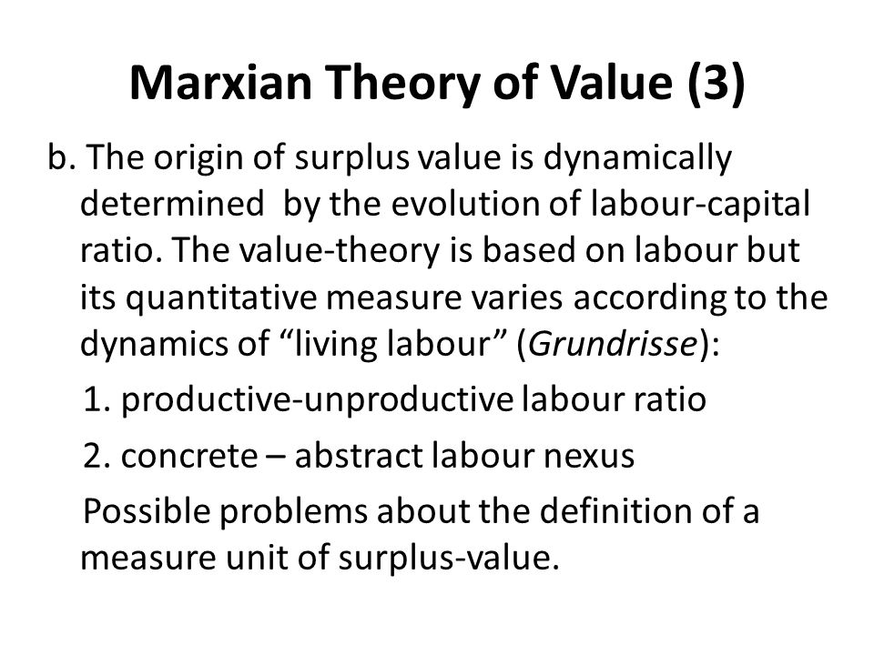 Marxian Theory of Value (3)