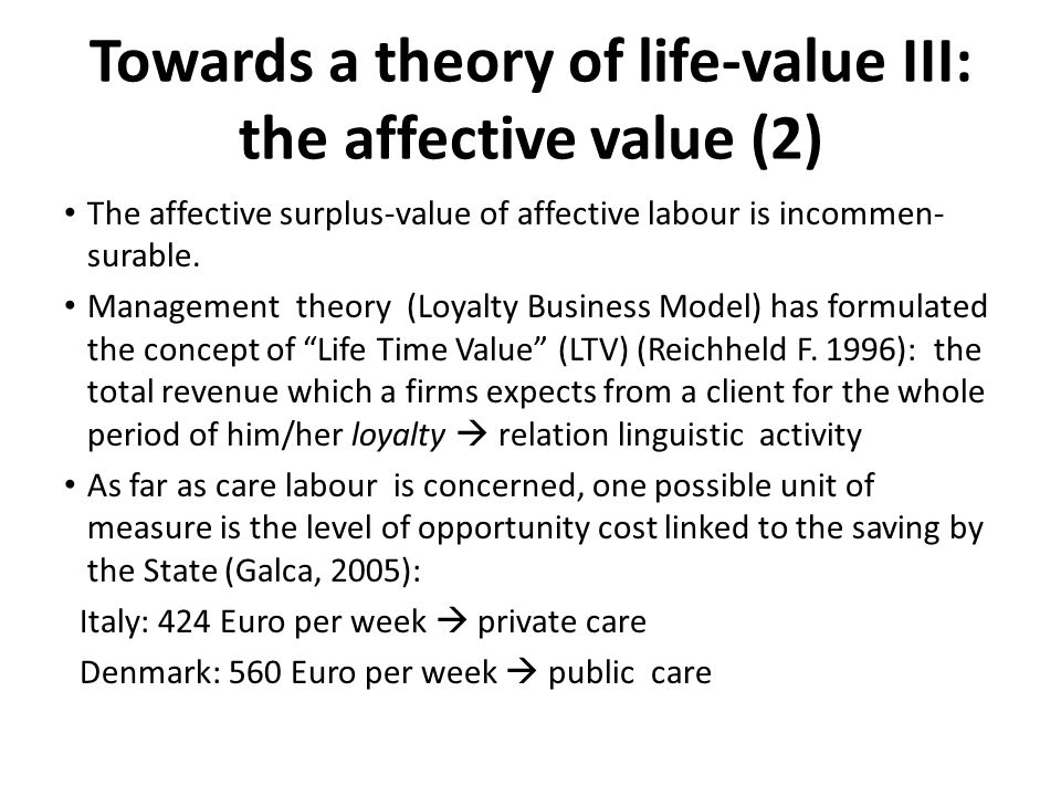 Towards a theory of life-value III: the affective value (2)