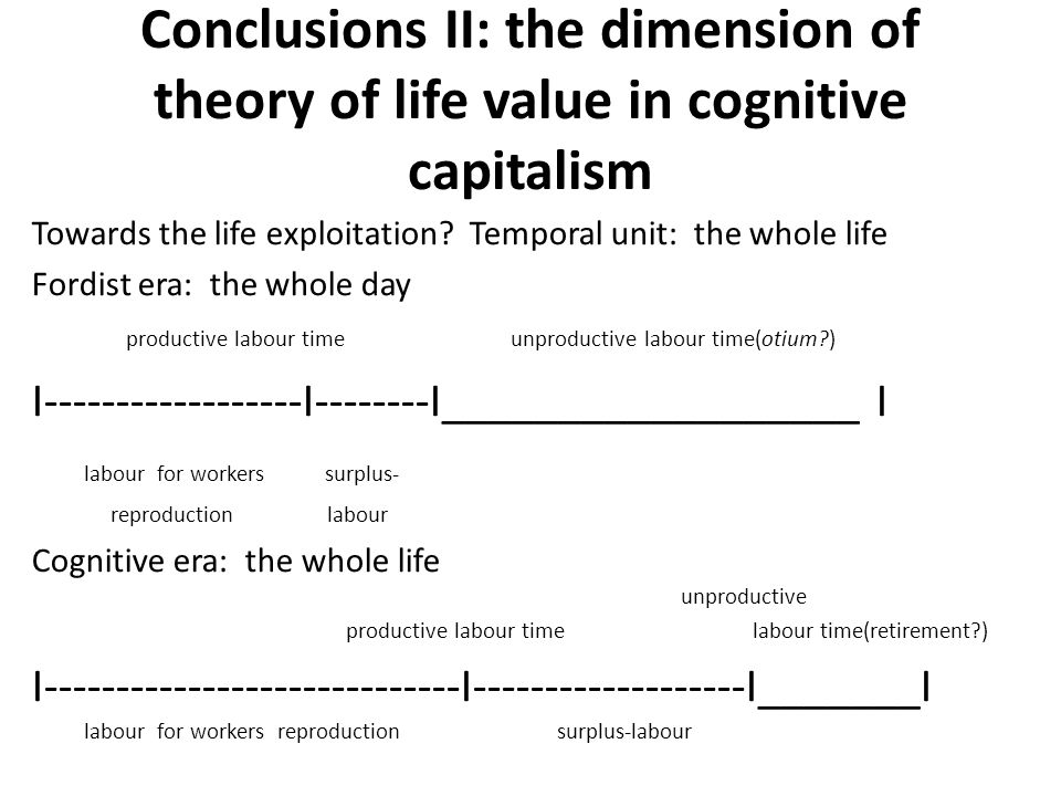 Conclusions II: the dimension of theory of life value in cognitive capitalism