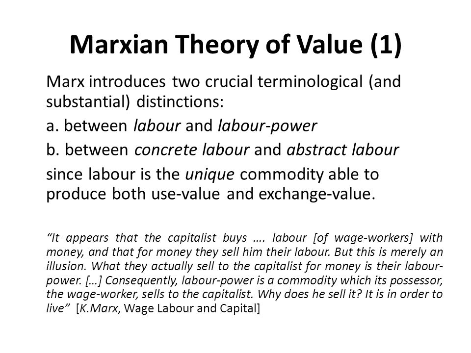 Marxian Theory of Value (1)