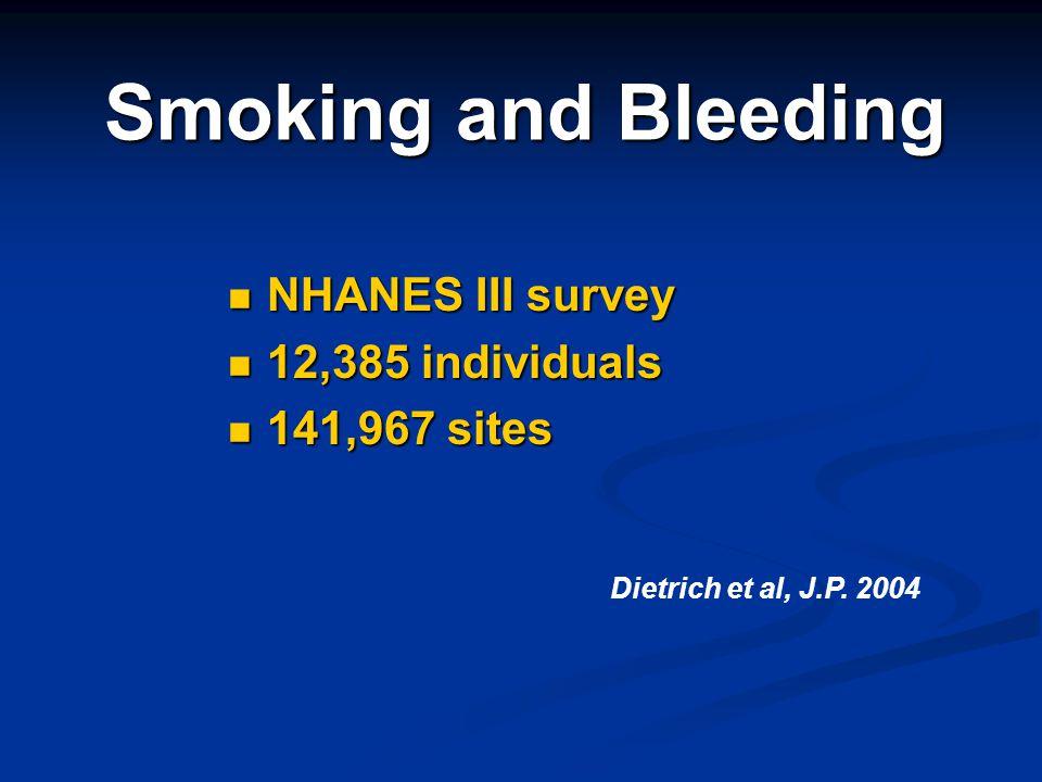 Smoking and Bleeding NHANES III survey 12,385 individuals