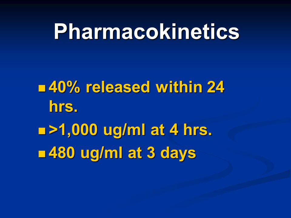 Pharmacokinetics 40% released within 24 hrs. >1,000 ug/ml at 4 hrs.