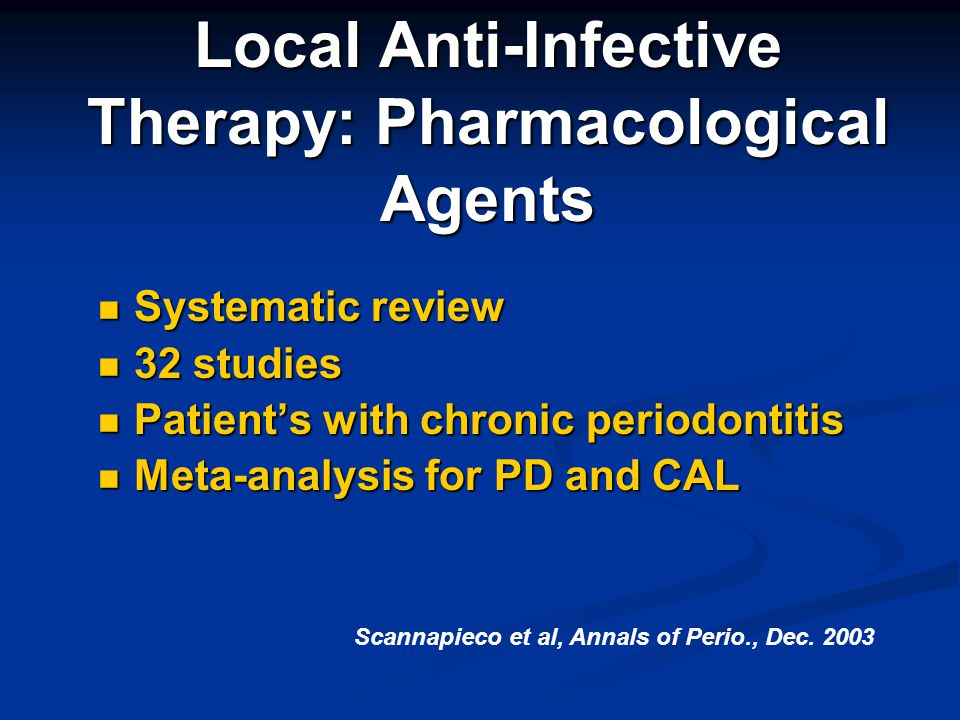 Local Anti-Infective Therapy: Pharmacological Agents