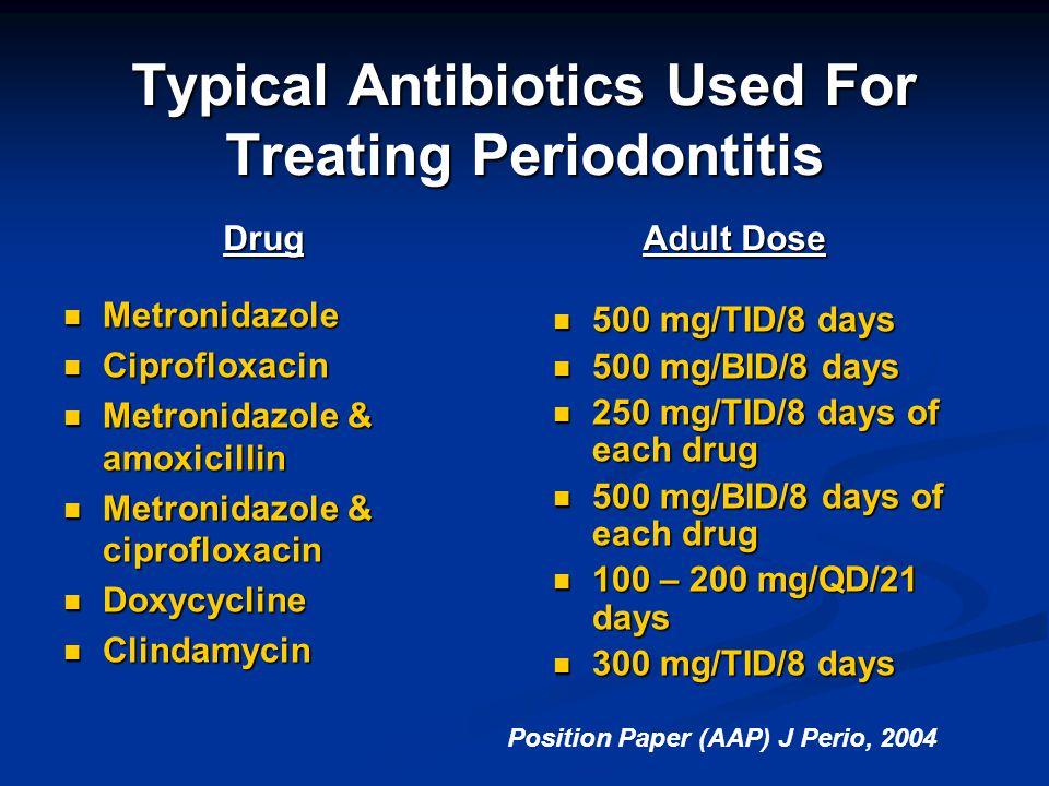 Typical Antibiotics Used For Treating Periodontitis Drug Adult Dose