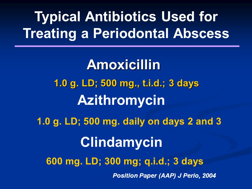 Typical Antibiotics Used for Treating a Periodontal Abscess