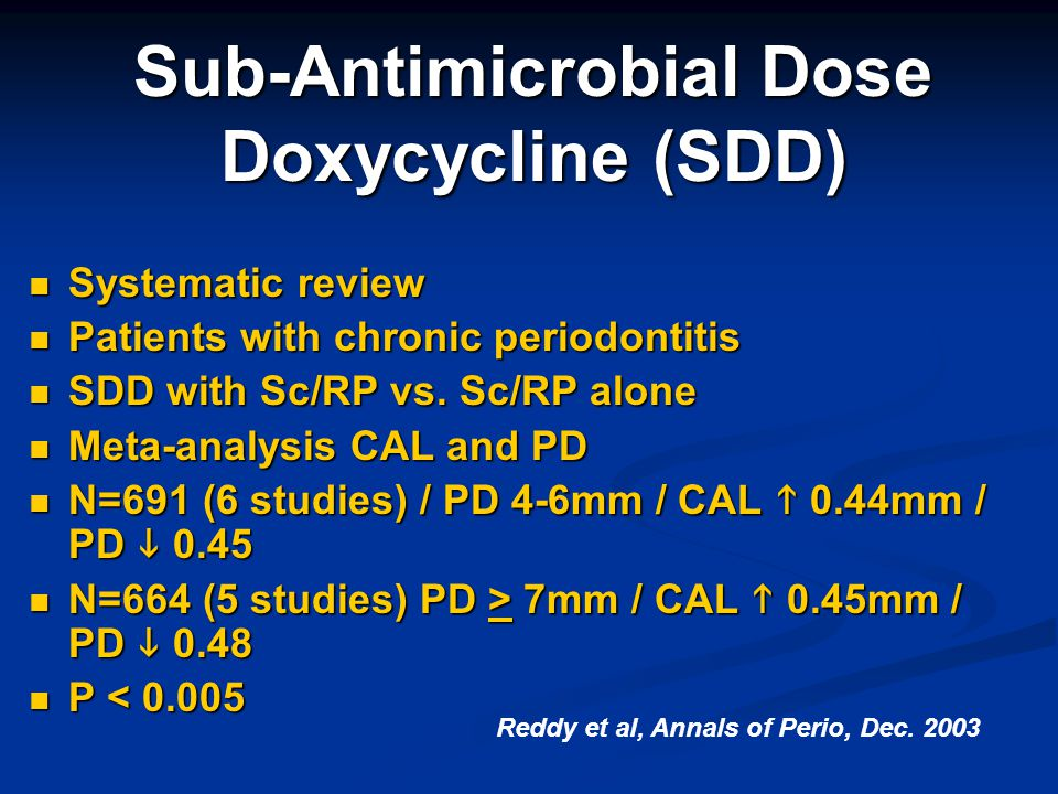 Sub-Antimicrobial Dose Doxycycline (SDD)