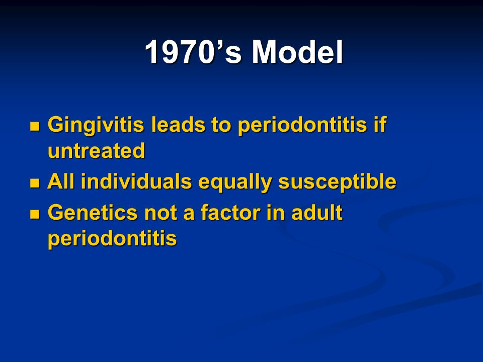 1970's Model Gingivitis leads to periodontitis if untreated