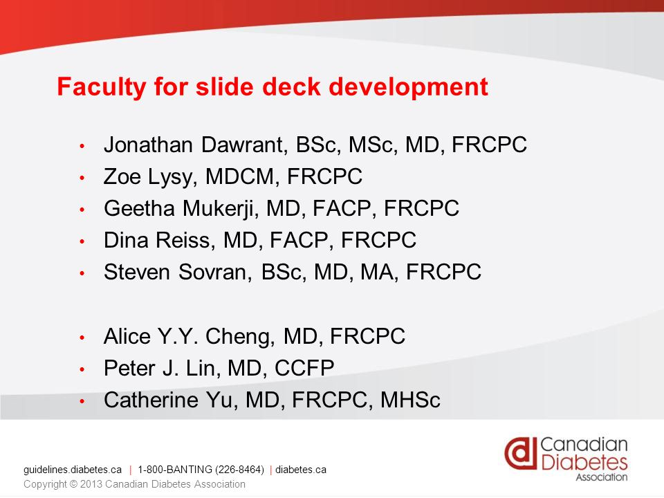 Faculty for slide deck development