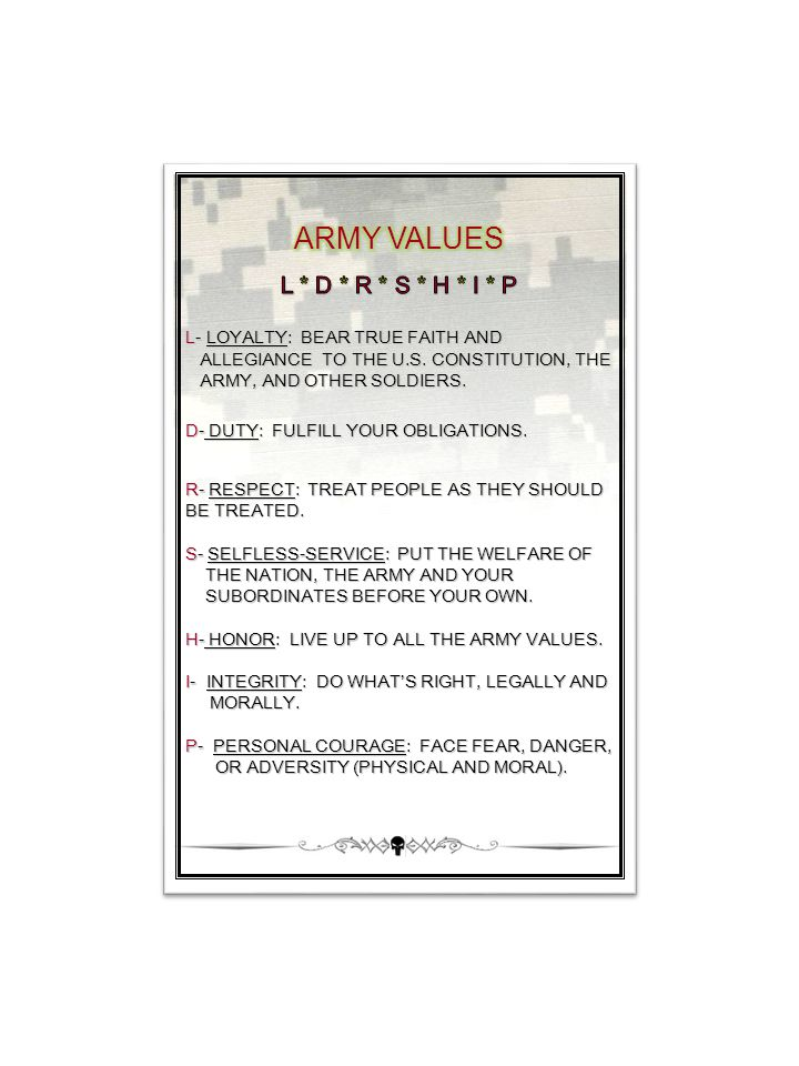 ARMY VALUES L * D * R * S * H * I * P L- LOYALTY: BEAR TRUE FAITH AND