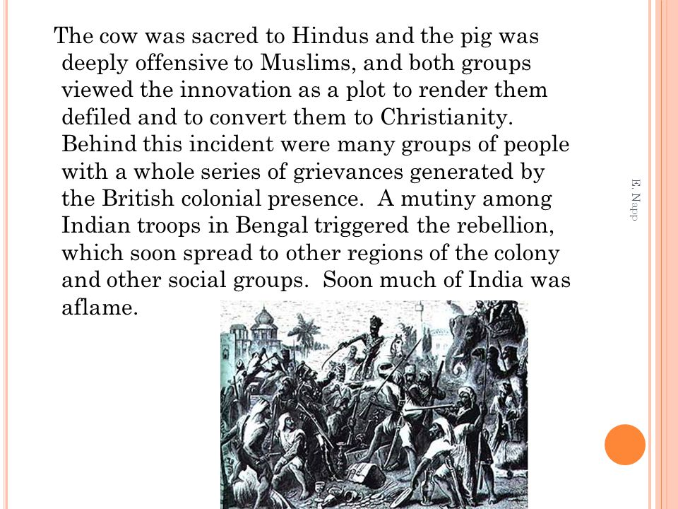 The cow was sacred to Hindus and the pig was deeply offensive to Muslims, and both groups viewed the innovation as a plot to render them defiled and to convert them to Christianity. Behind this incident were many groups of people with a whole series of grievances generated by the British colonial presence. A mutiny among Indian troops in Bengal triggered the rebellion, which soon spread to other regions of the colony and other social groups. Soon much of India was aflame.
