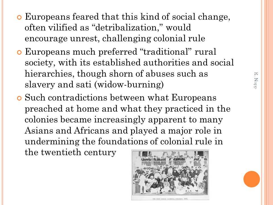 Europeans feared that this kind of social change, often vilified as detribalization, would encourage unrest, challenging colonial rule