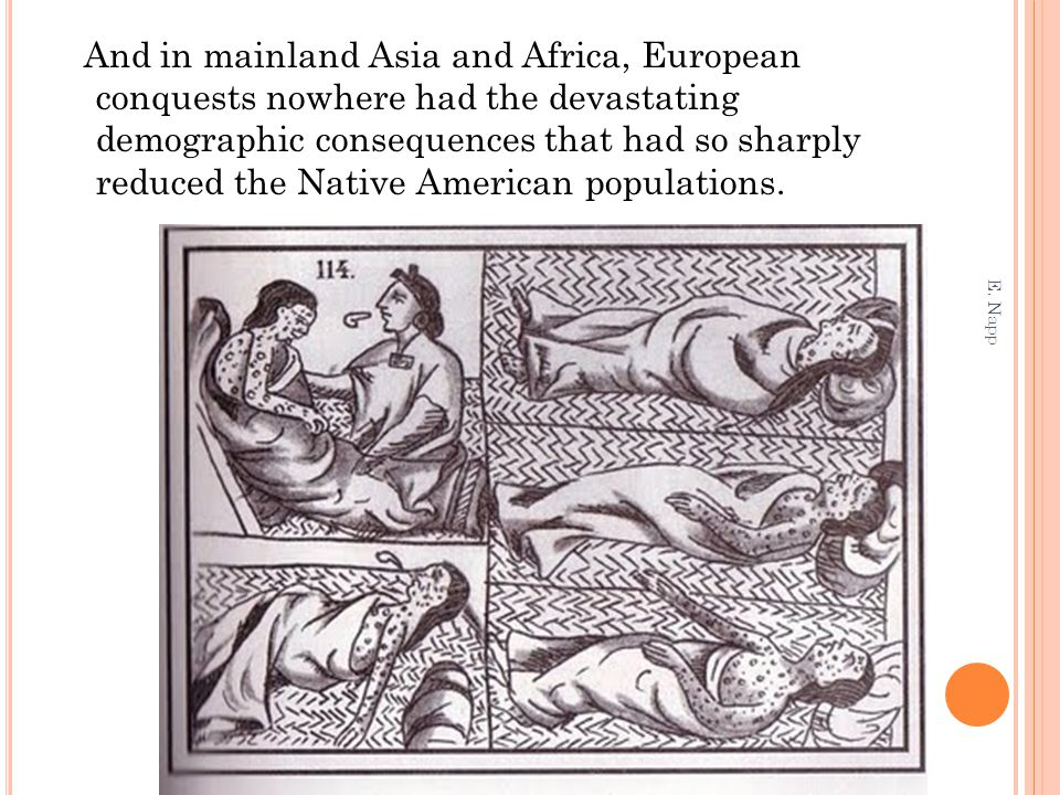 And in mainland Asia and Africa, European conquests nowhere had the devastating demographic consequences that had so sharply reduced the Native American populations.