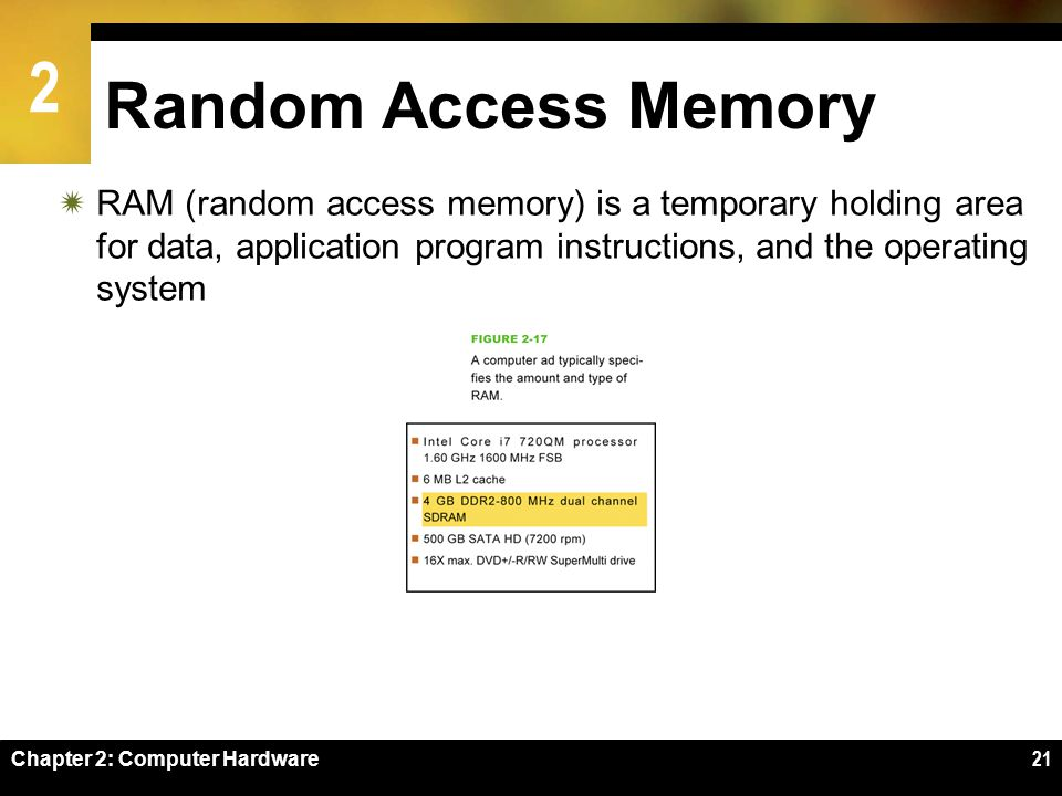 Random Access Memory RAM (random access memory) is a temporary holding area for data, application program instructions, and the operating system.