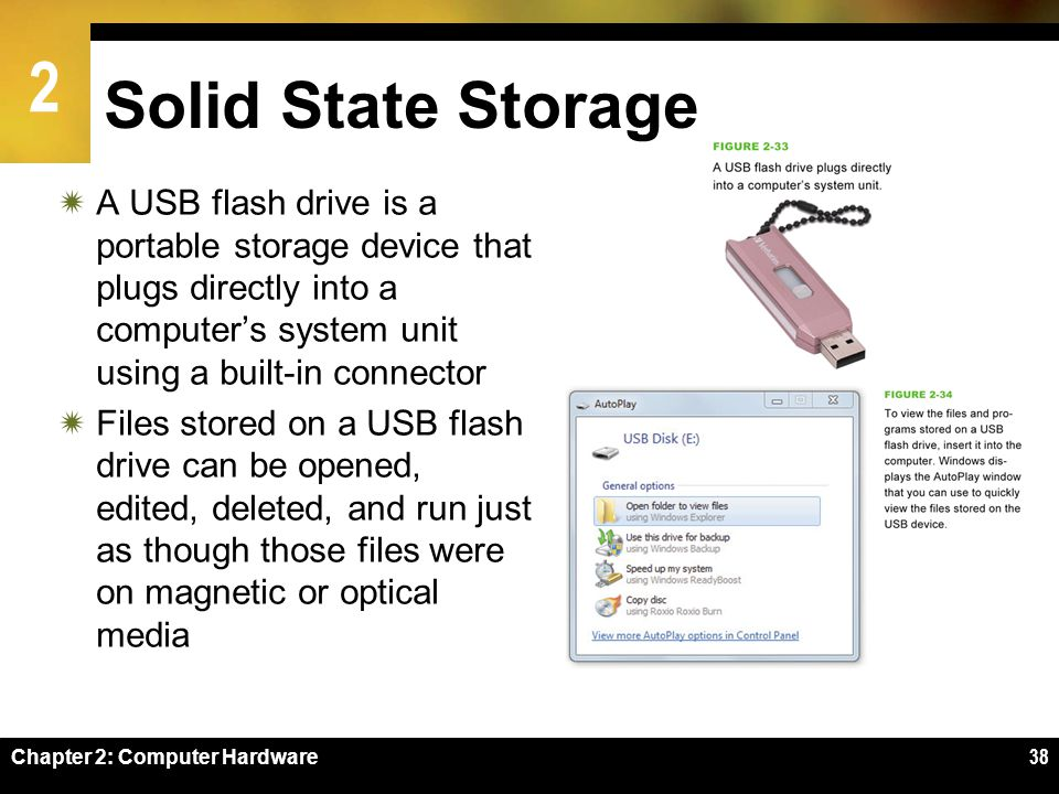 Solid State Storage A USB flash drive is a portable storage device that plugs directly into a computer's system unit using a built-in connector.