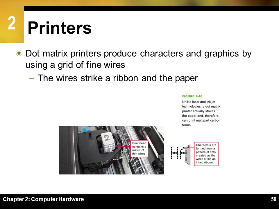 Printers Dot matrix printers produce characters and graphics by using a grid of fine wires. The wires strike a ribbon and the paper.