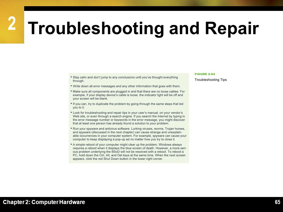 Troubleshooting and Repair