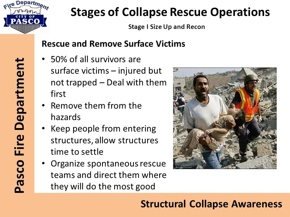 Stages of Collapse Rescue Operations Stage I Size Up and Recon