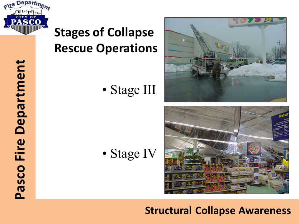 Stages of Collapse Rescue Operations Stage III Stage IV Stage III
