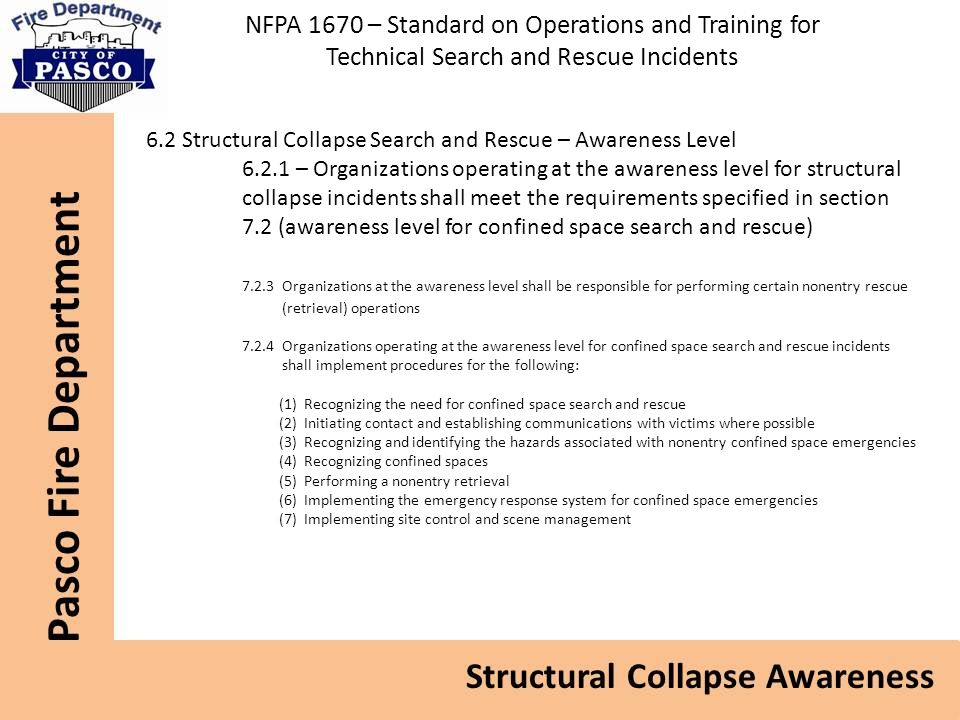 NFPA 1670 – Standard on Operations and Training for Technical Search and Rescue Incidents