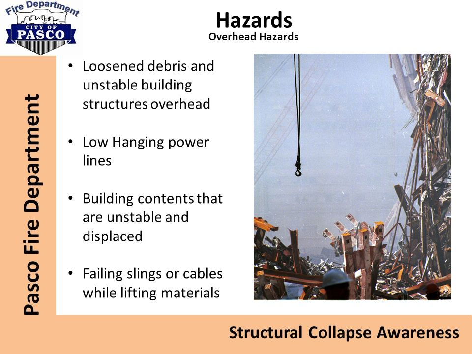 Hazards Loosened debris and unstable building structures overhead