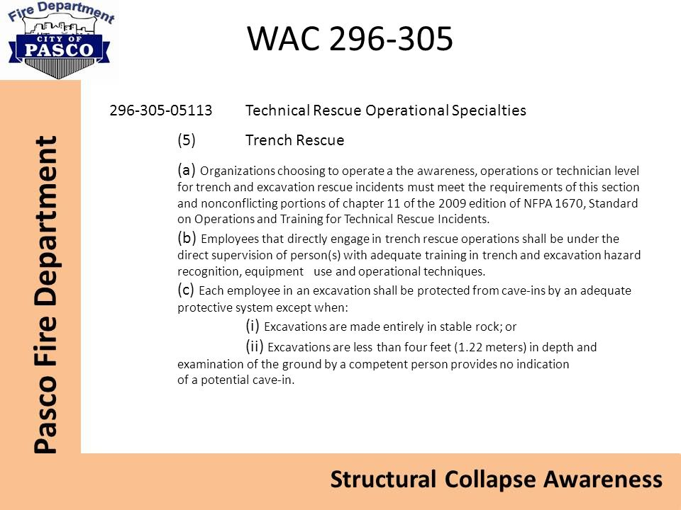 WAC 296-305 296-305-05113 Technical Rescue Operational Specialties
