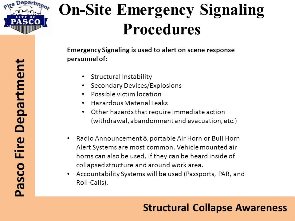 On-Site Emergency Signaling Procedures