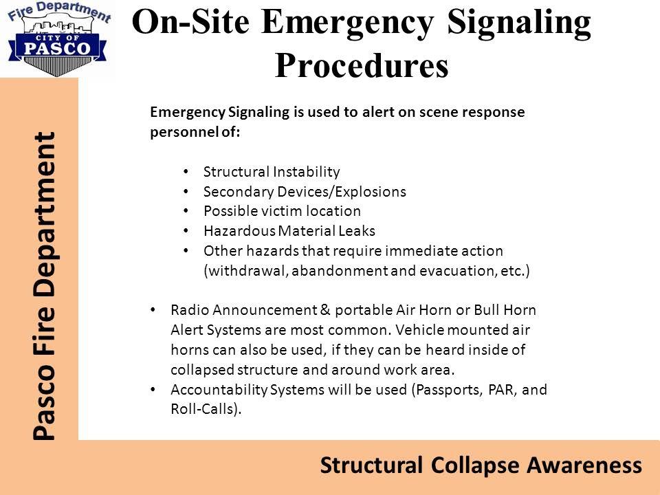 On-Site Emergency Signaling Procedures