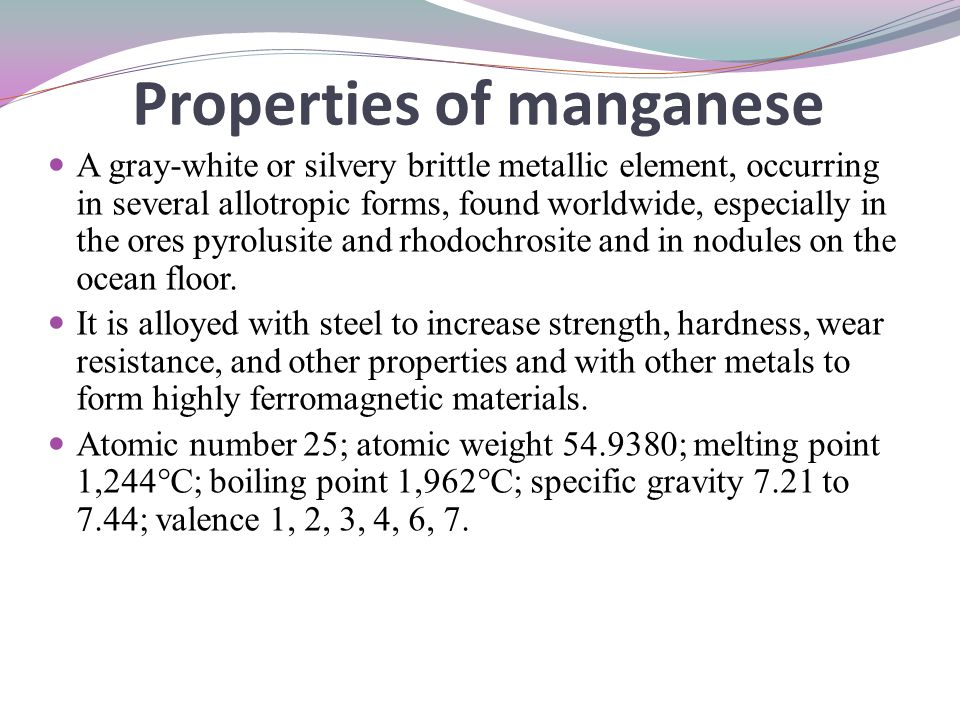 Properties of manganese