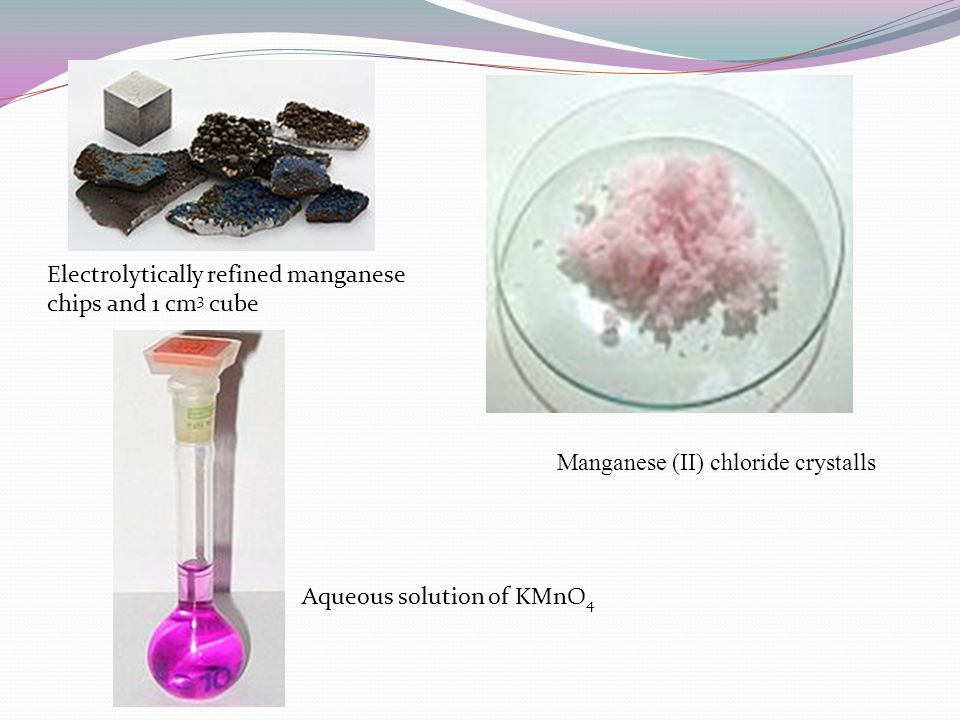 Electrolytically refined manganese chips and 1 cm3 cube