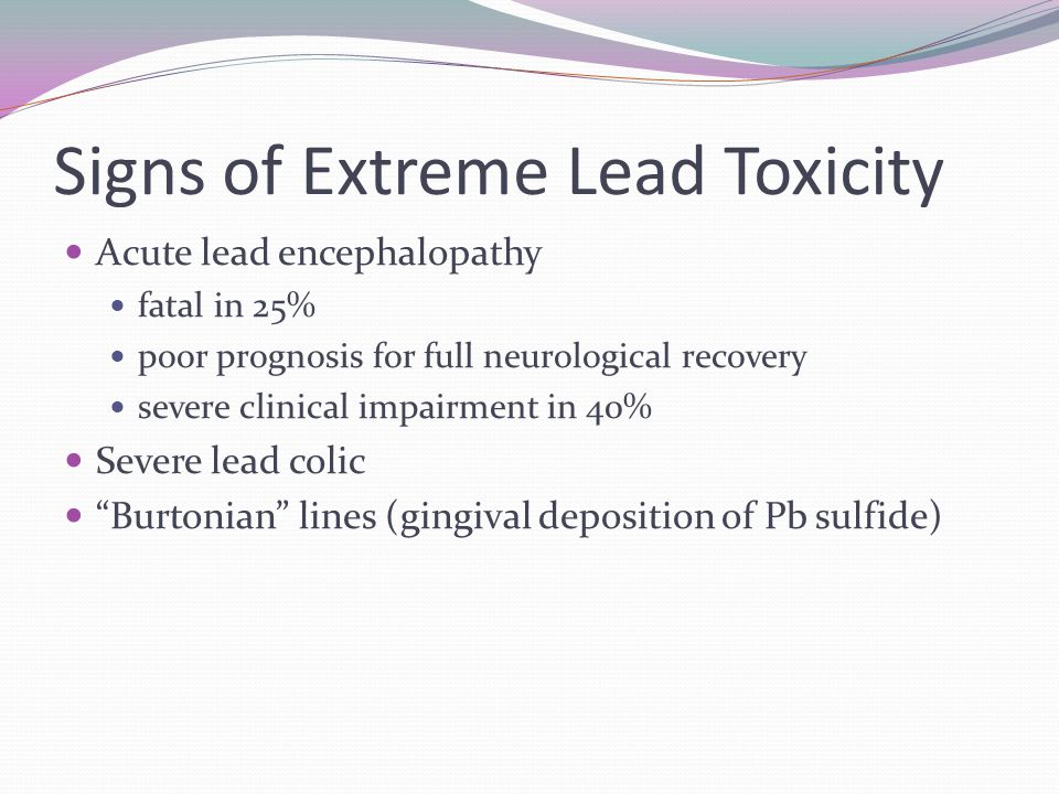 Signs of Extreme Lead Toxicity