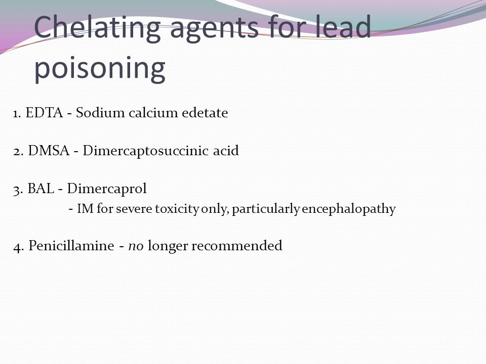 Chelating agents for lead poisoning