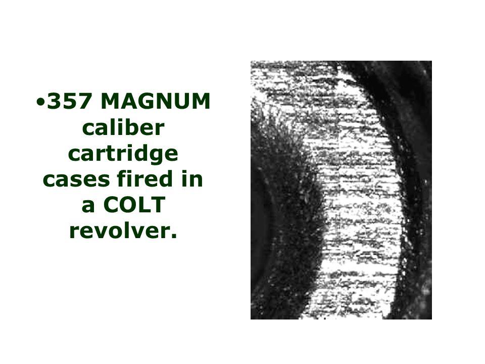 357 MAGNUM caliber cartridge cases fired in a COLT revolver.