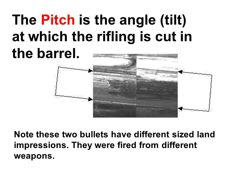 The Pitch is the angle (tilt) at which the rifling is cut in the barrel.