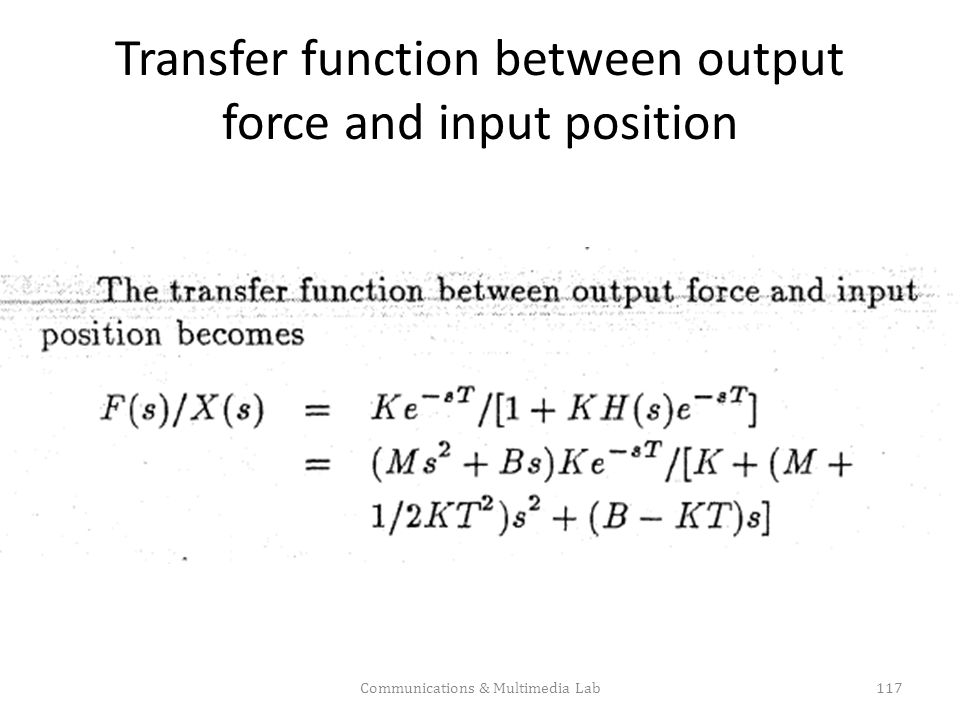 Transfer function between output force and input position