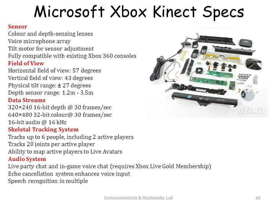 Microsoft Xbox Kinect Specs